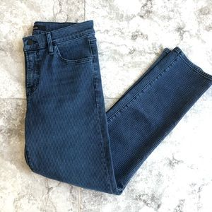 J Brand blue skinny high rise pinstriped jeans
